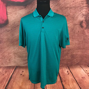 Mens Climacool Green Striped Polo Shirt Large